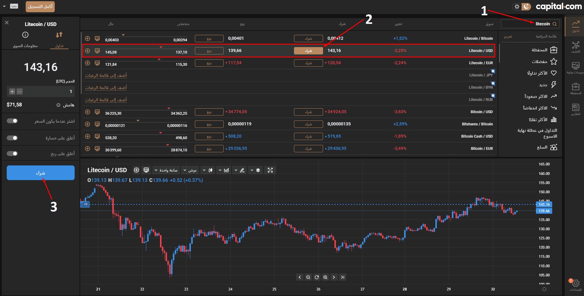 شراء لايتكوين Capital.com