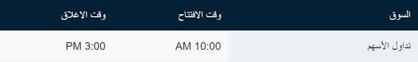 وقت سوق الاسهم السعودي
