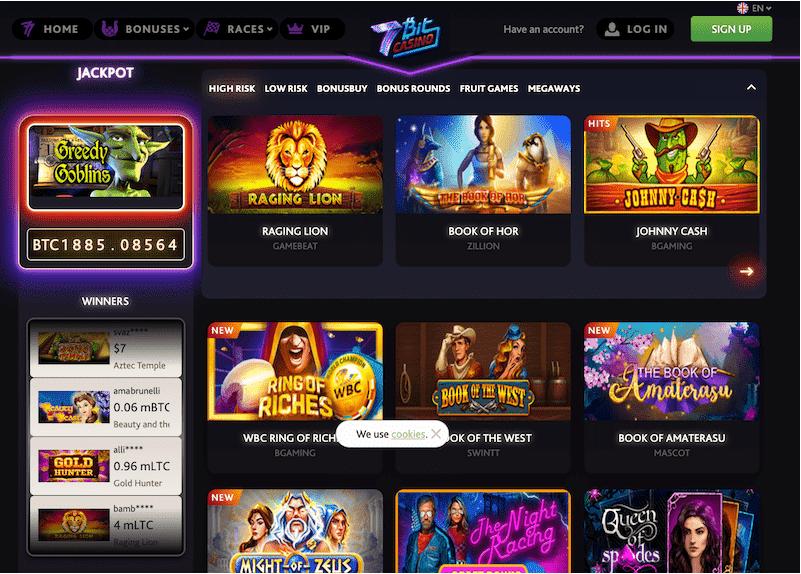 7BitCasino -مجموعة ضخمة من أكثر من 4000 لعبة بتكوين