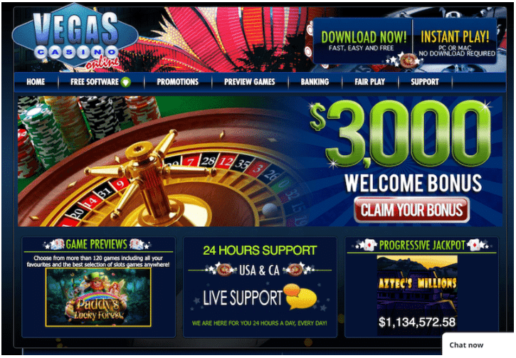 VegasCasinoOnline - بيتكوين كازينو مع مكافأة ترحيب ضخمة